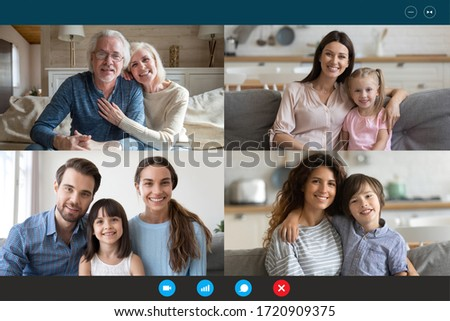 Screen application view of diverse happy relatives sit rest at home on quarantine talk chat on video call, smiling family members have fun engaged in webcam online conversation on computer together