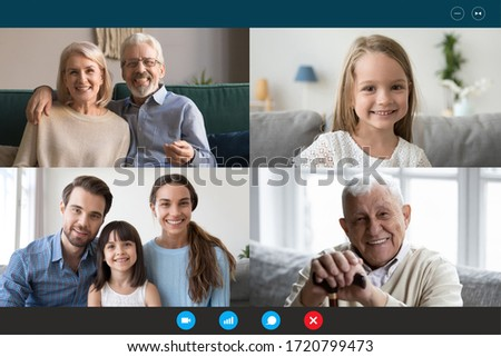 Screen application view of happy family members talk speak on video call on quarantine from home, diverse smiling relatives have webcam conversation conference on laptop, chat online on computer
