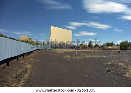 Screen at the 'Star Drive In'  movie theater in Monte Vista, Colorado at night.