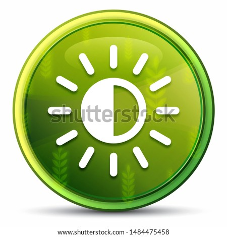 Screen brightness sun icon isolated on spring bright natural green round button illustration