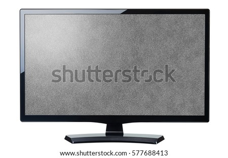 screen monitor tv noisy video grain isolated on white #577688413