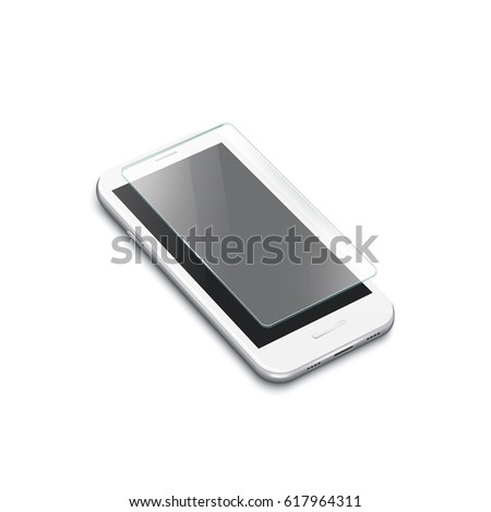 Screen Protector Glass. Illustration of transparent tempered glass shield for mobile phone