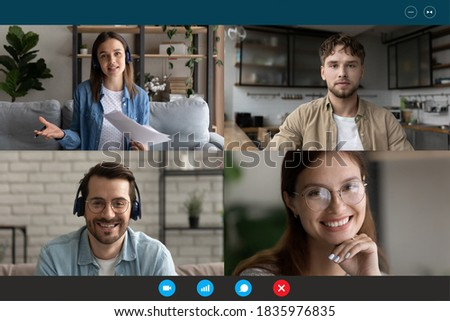 Screen view group video call, team brainstorming, negotiating online, sharing ideas, four people friends engaged in conference, internet meeting, using webcam and social media app, virtual event Stockfoto ©