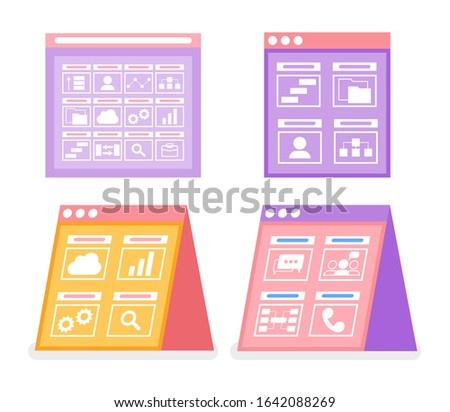 Screens with infographics and user icon raster. Profile and cell phone, telephone and magnifying glass, zoom and chatting sign on board, clipboard