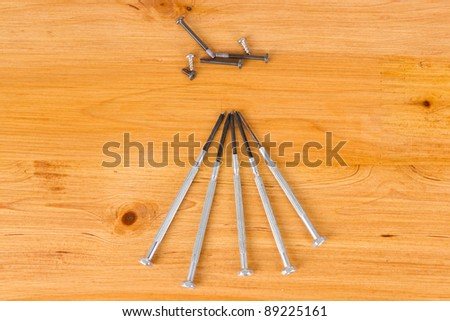 Screw and bolt driver with wooden background