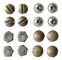 screw, bolt, rivet head collection rotated on different angle for using in collages