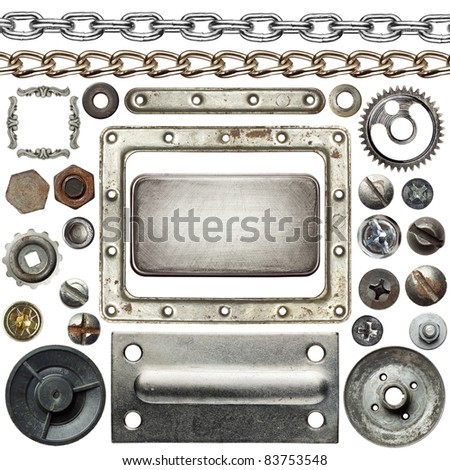 Screw heads, chains, frames and other metal details