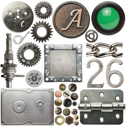Screw heads, cogs, frames and other metal details