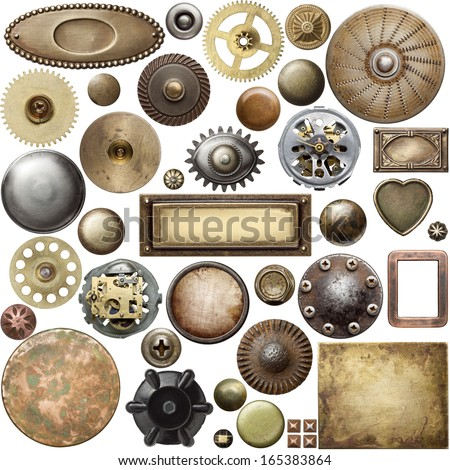 Screw heads, gears, textures and other metal details. stock photo