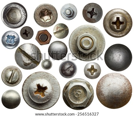 Screw heads, nuts, rivets. stock photo