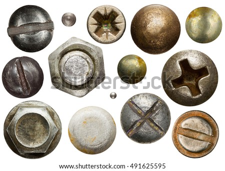 Screw heads, nuts, rivets isolated on white. stock photo