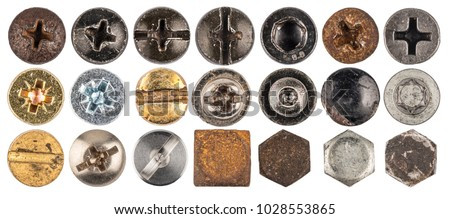 Screw heads, nuts, rivets. Isolated on white background. Top view. #1028553865