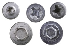 Screw heads used for assembling machine parts. Top view of bolts and screws. Isolated background.