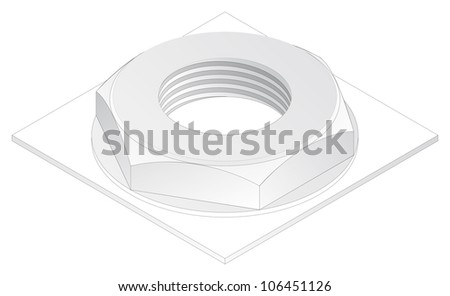 Screw-nut  isometric projection  engineering graphics - stock photoEngineering Graphics Isometric Projection