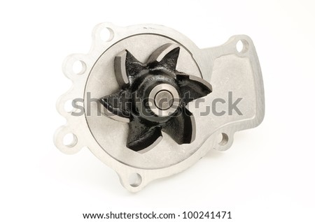 Screw portion of car water pump on white background