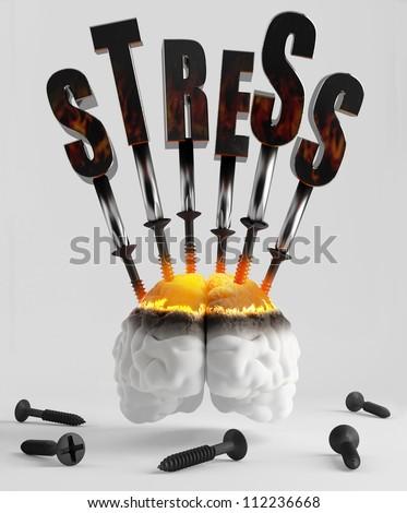 Screw the screws into the brain symbolizing stress