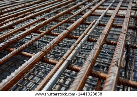 Screw thread steel bar framework, in the construction site