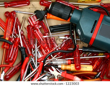 Screwdriver and drill tools.