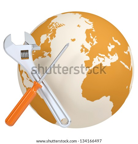 Screwdriver and wrench on the background of the planet earth. Isolated render on a white background