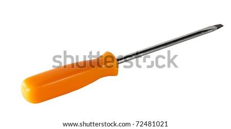 Screwdriver with orange hand on white background
