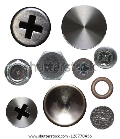 Screws and rivets isolated on white background.