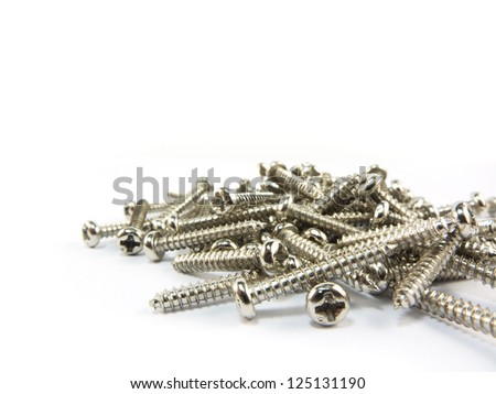Screws on a white background