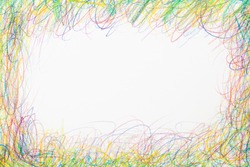 Scribble colored pencil art frame