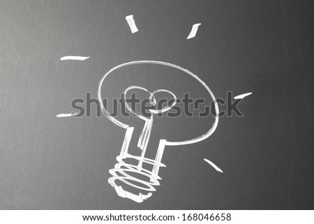 scribble of a light bulb on a chalkboard. Abstract scribble with a white outline of a light bulb.