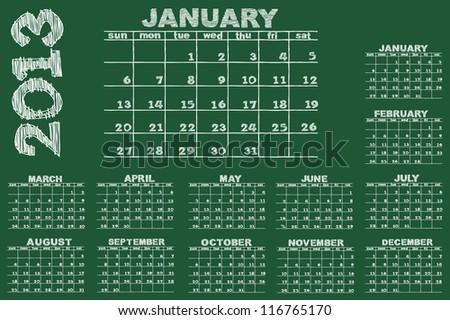 scribble sketch of calendar 2013 on blackboard