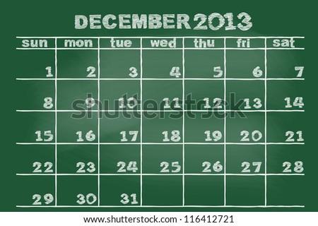 scribble sketch of December on blackboard