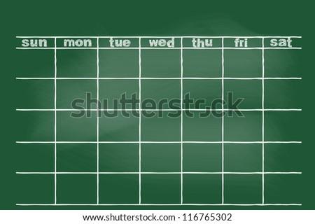 scribble sketch of monthly plan on blackboard