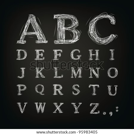 scribbled alphabet in a black board - Jpeg version of vector illustration