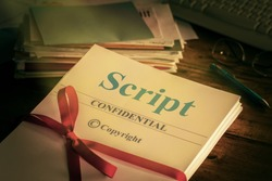 Script Old retro grunge screenplay manuscript by author ready for Proofreading Closeup