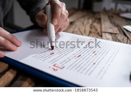 Script Proofread And Sentence Grammar Spell Check. Correct Mistakes Stock photo ©