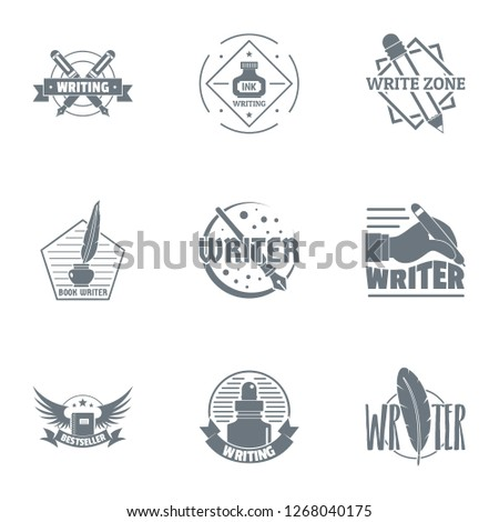 Scriptwriter logo set. Simple set of 9 scriptwriter logo for web isolated on white background