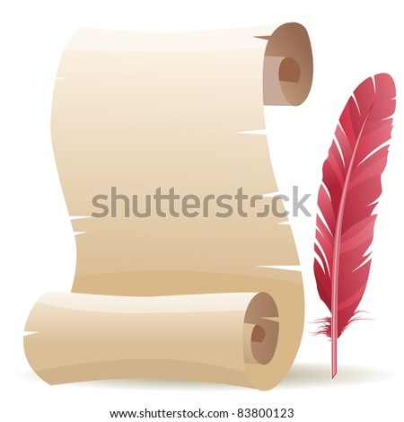Scroll and feather. Raster version.