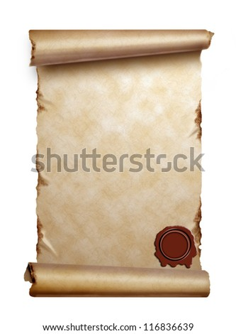 Scroll of old paper with curled edges and wax seal isolated on white