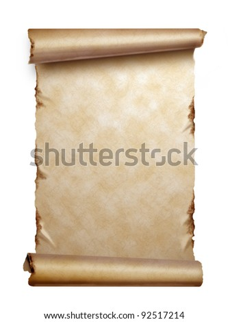 Scroll of old paper with curled edges isolated on white - stock photo