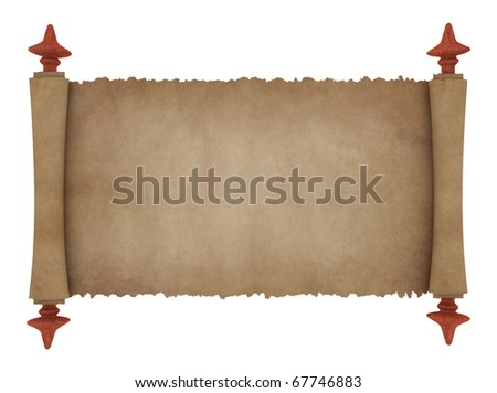 Scroll of old parchment - stock photo