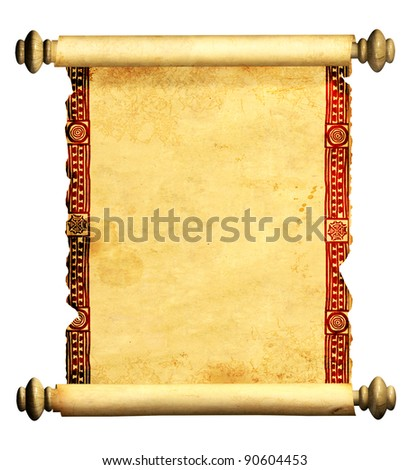 Scroll of old parchment. Object isolated over white