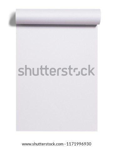 Scroll of white paper sheet isolated over white background ストックフォト ©