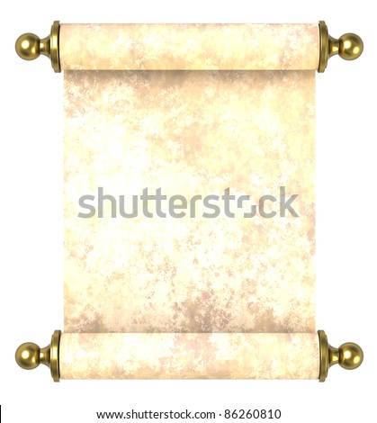Scroll paper with golden handles over white. Computer generated 3D photo rendering.
