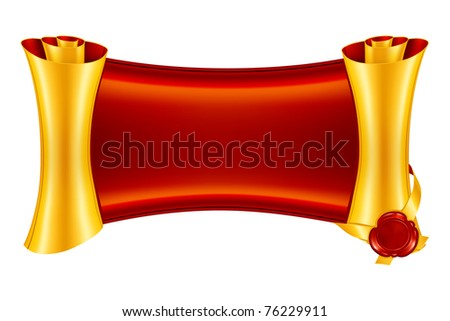 Scroll with the seal, bitmap copy - stock photo