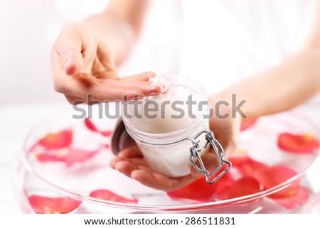 Scrub hands. Jar of cosmetic preparation Spa & Wellness