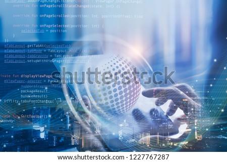 Scrum agile and sprint software development, coding program, disruptive technology concept. Software developer, scrum master on process of project management on digital tablet, computer code, big data Foto d'archivio ©