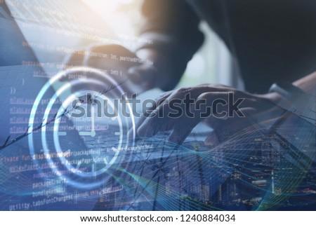 Scrum agile and sprint software development, coding program, disruptive technology concept. Software developer, scrum master on process of project management on digital tablet, computer code Foto d'archivio ©