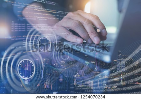 Scrum agile and sprint software development. Scrum project management concept. Software developer, programmer coding program on laptop computer with  computer code, big data binary interface