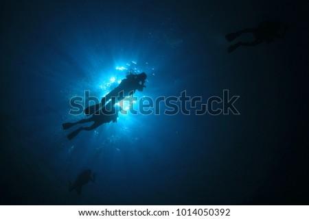 Scuba dive sunburst ocean #1014050392