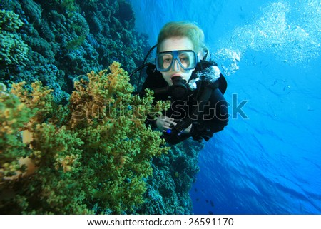 Scuba Diver and Coral Reef