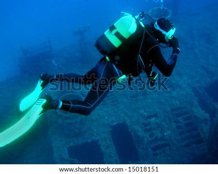 Scuba Diver around Wreck, Red Sea Сток-фото ©